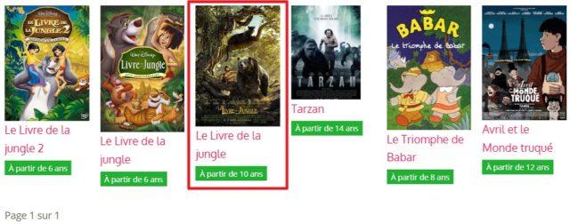Capture d'écran du site films pour enfants, résultats.