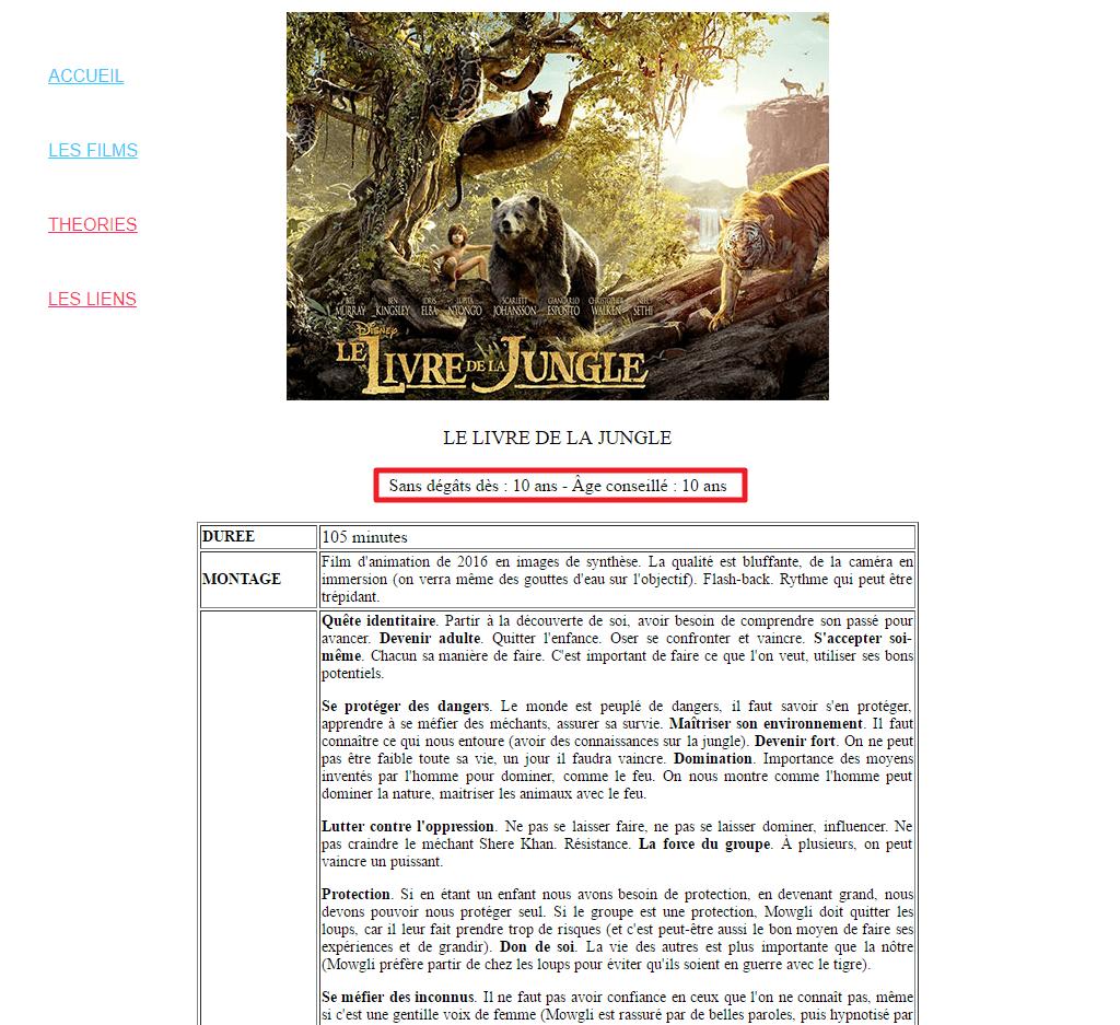 """Capture d'écran du site Filmspourenfants.net page """"Le Livre de la Jungle (2016)""""."""