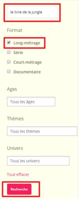 Capture d'écran du site Films pour enfants, recherche et filtres