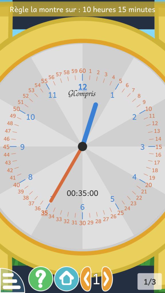 Capture d'écran de l'application GCompris, activité Horloges.