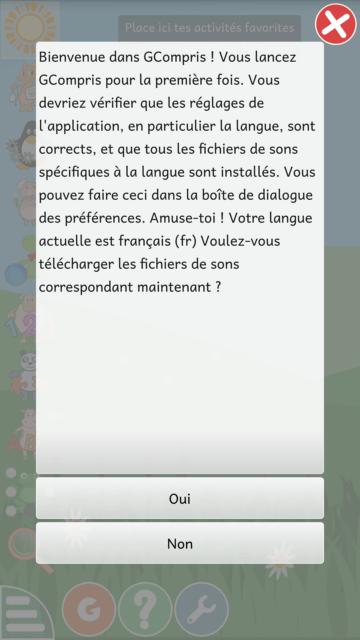 Capture d'écran de l'application GCompris, téléchargement des fichiers sons.