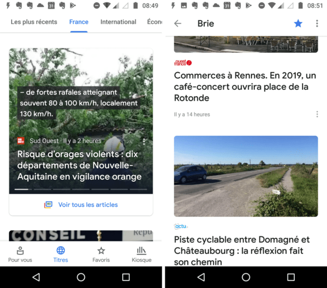 Capture d'écran de l'application Google Actualités