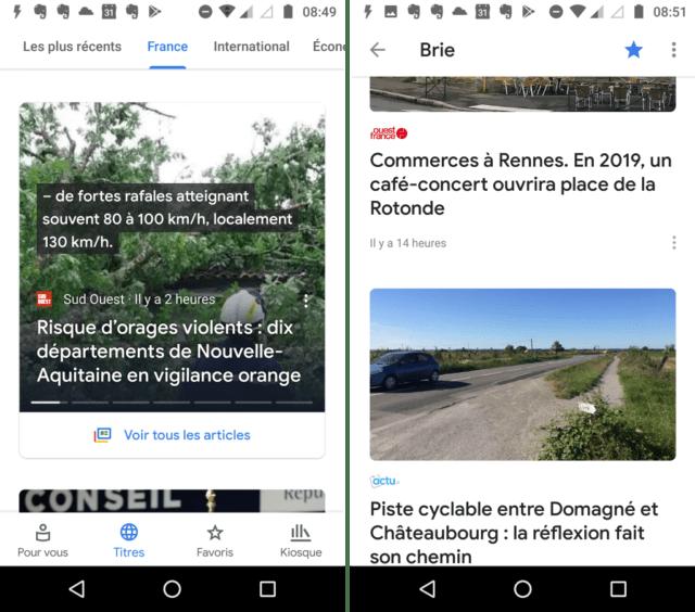 Capture d'écran de l'application Google Actualités