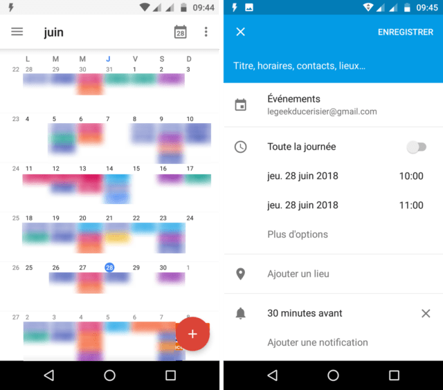 Capture d'écran de l'application Google Agenda