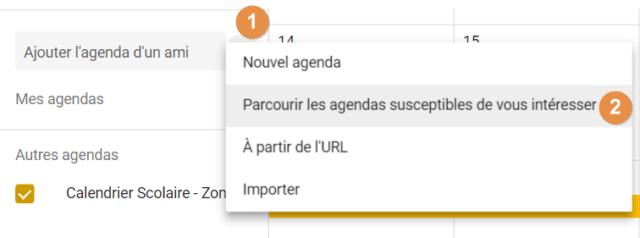 """Capture d'écran du site Google Agenda, bouton """"+"""" et """"parcourir les agendas susceptibles de vous intéresser"""""""