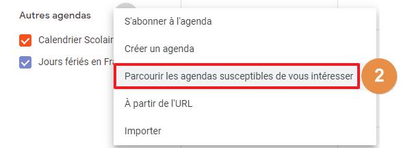 Capture d'écran du site Google Agenda : ajouter des agendas susceptibles de vous intéresser.