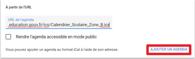 """Capture d'écran du site Google Agenda, bouton """"Ajouter un agenda"""" après collage de l'URL"""