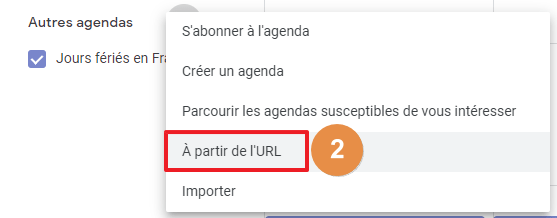 Capture d'écran du site Google agenda : ajout d'un agenda