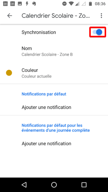 Capture d'écran de l'application Android Google Agenda, activation de la synchronisation d'un agenda avec bouton interrupteur