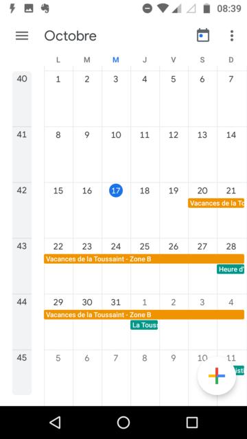 Capture d'écran de l'application Android Google Agenda avec les calendriers des vacances scolaires et des jours fériés affichés