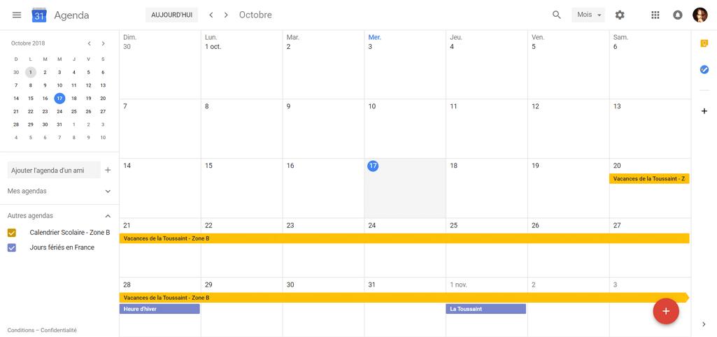 Capture d'écran du site Google Agenda, calendriers des vacances scolaires et des jours fériés affichés