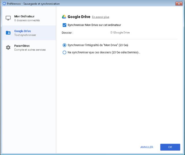 Capture d'écran de l'application Google Backup and Sync.
