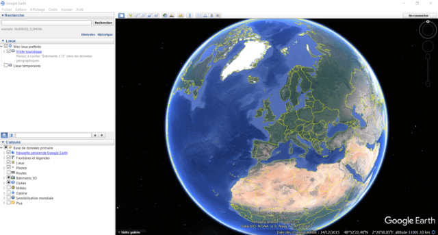 Capture d'écran de l'interface principale de Google Earth pour Windows