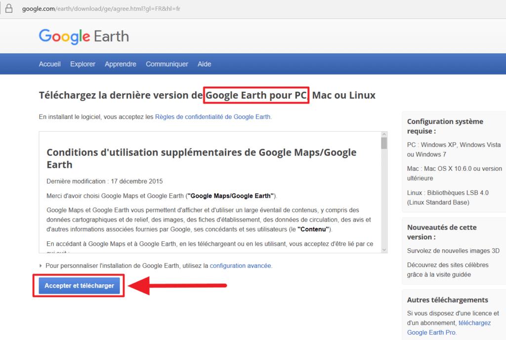 Capture d'écran de la page de téléchargement de Google Earth pour PC
