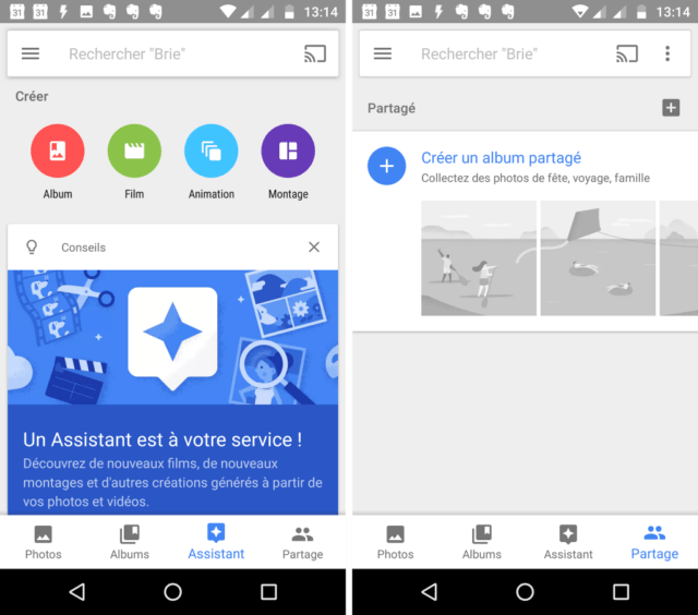Capture d'écran de l'application Google Photos