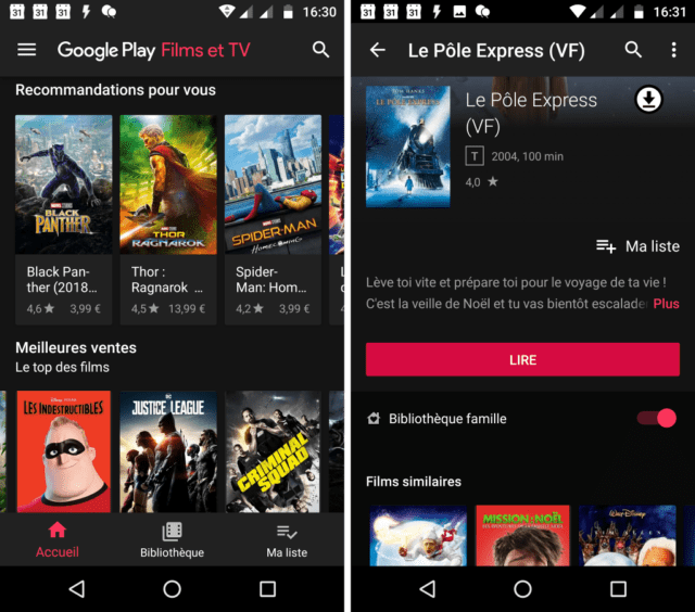 Capture d'écran de l'application Google Play Films et séries