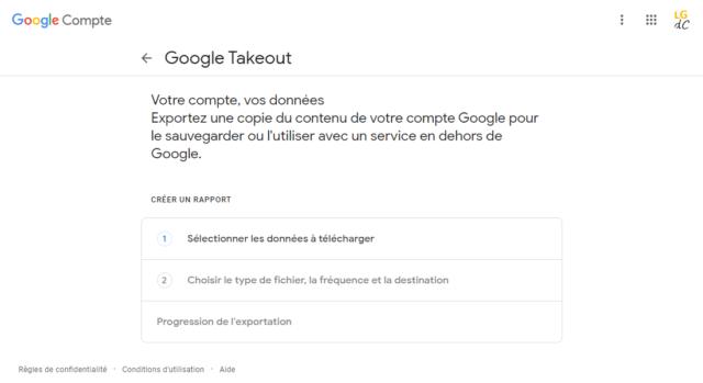 Capture d'écran de l'application web Google Takeout.