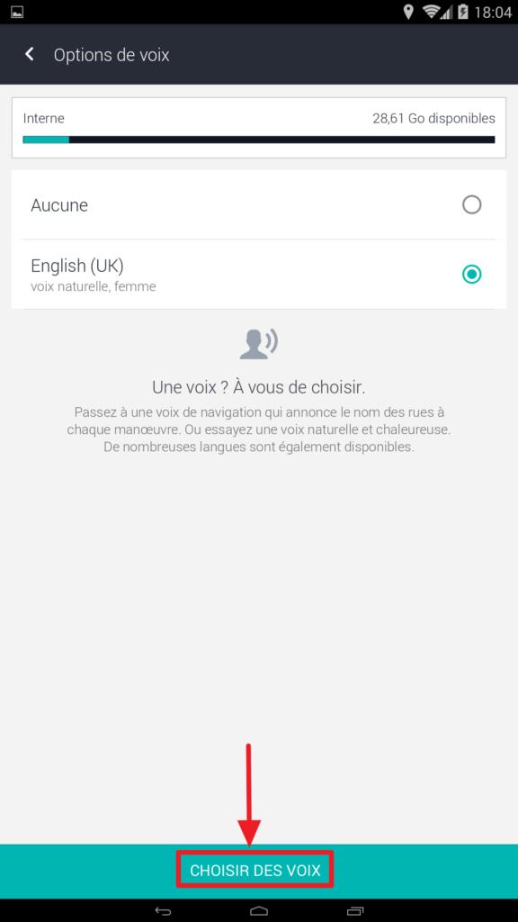 Capture d'écran de l'application HERE WeGo : Choisir des voix