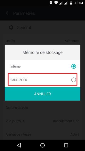 Capture d'écran de l'application HERE WeGo : choix du stockage.