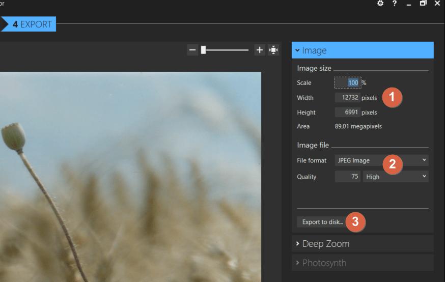 Capture d'écran de l'application ICE, onglet export.