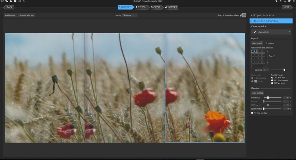 Capture d'écran de l'application ICE, structured diaporama bien réglé