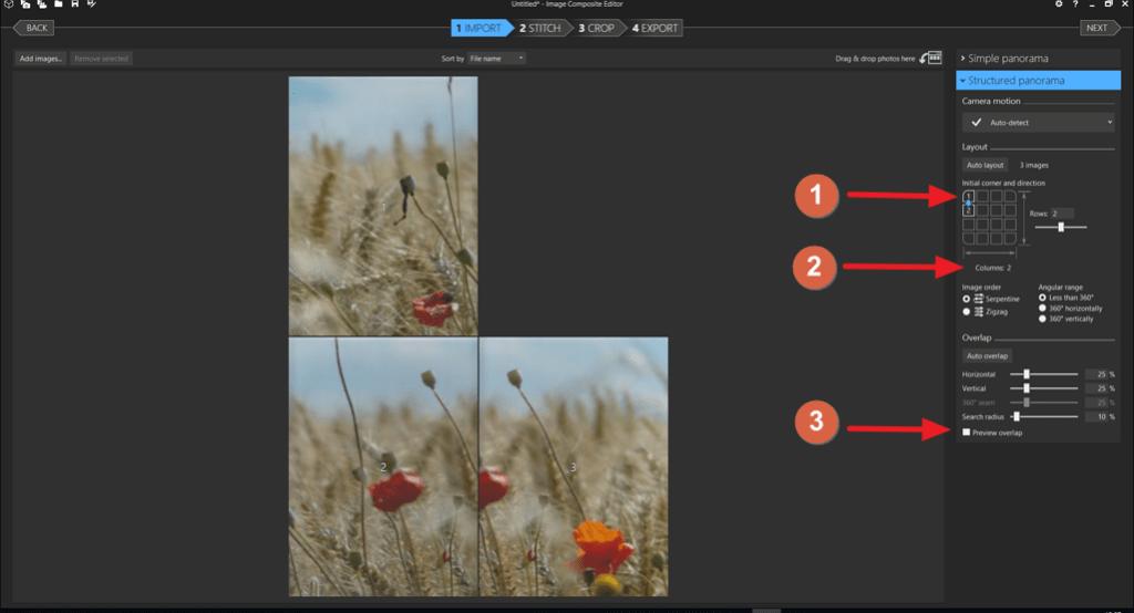 """Capture d'écran de l'application ICE, réglages """"Structured panorama""""."""