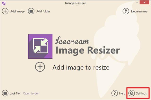Capture d'écran de l'application Icecream Image Resizer, bouton Settings