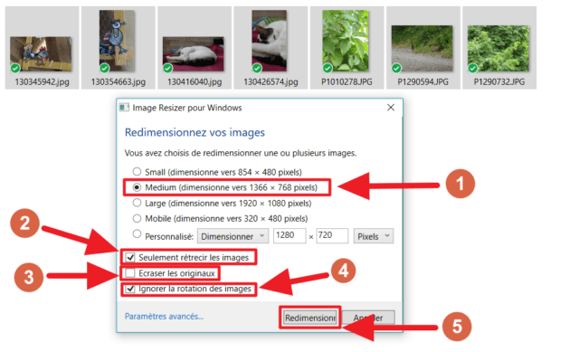 Capture d'écran de l'application Image Resizer for Windows, paramètres de redimensionnement.