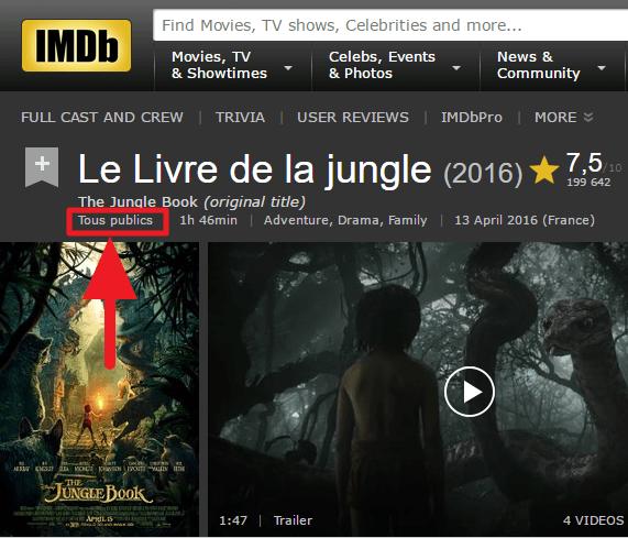 """IMDb indique """"Tous publics"""" pour """"Le Livre de la jungle (2016)""""."""