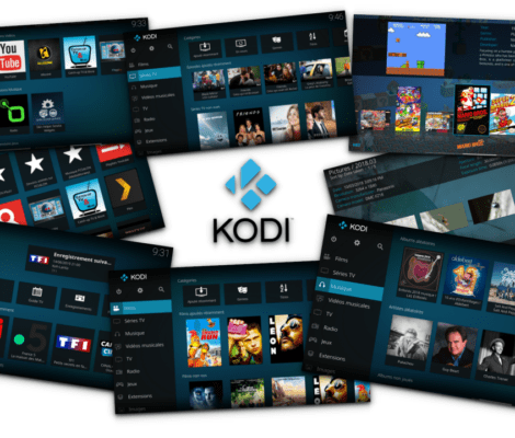 Assemblage de captures d'écran de l'application Kodi.