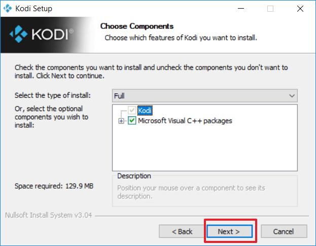 Capture d'écran de l'application Kodi, choix des composants à l'installation.