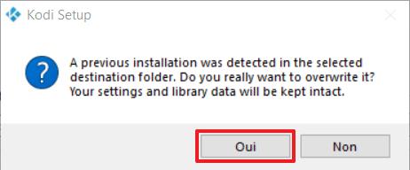 Capture d'écran de l'application Kodi, confirmation d'écrasement en cas d'installation précédente détectée.