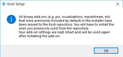 Capture d'écran de l'application Kodi, information indiquant que certaines extensions ne sont plus incluent par défaut dans l'installateur.