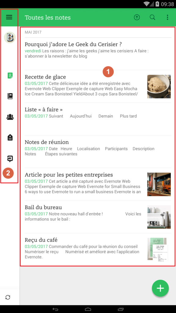 Interface d'Evernote Android