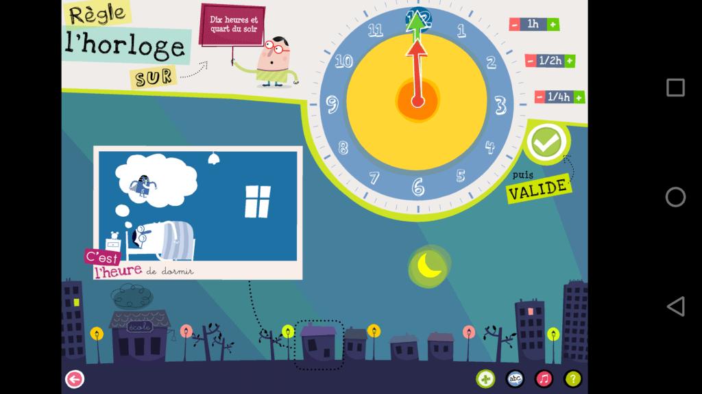"""Capture d'écran de l'application """"J'apprends à lire l'heure lite"""", régler l'horloge sur 10h15 du soir."""