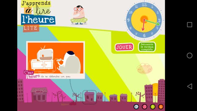 """Capture d'écran de l'application """"J'apprends à lire l'heure lite"""", écran d'accueil."""