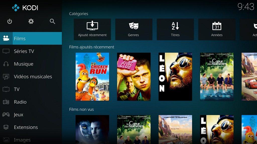 """Capture d'écran de l'application Kodi, écran d'accueil """"Films""""."""