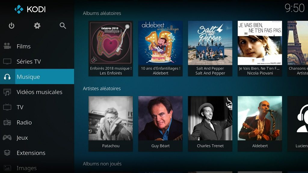 "Capture d'écran de l'application Kodi, écran d'accueil ""Musique""."