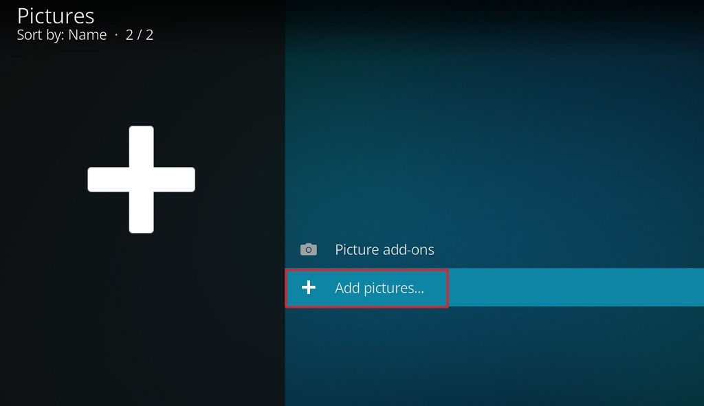 "Capture d'écran de l'application Kodi, élément ""Add pictures...""."