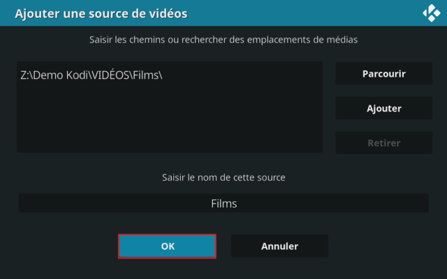 """Capture d'écran de l'application Kodi, ajout source vidéo """"Films""""."""