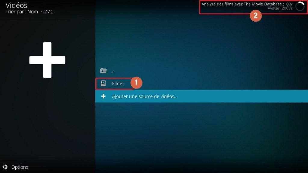 """Capture d'écran de l'application Kodi, """"Analyse des films"""" en cours."""