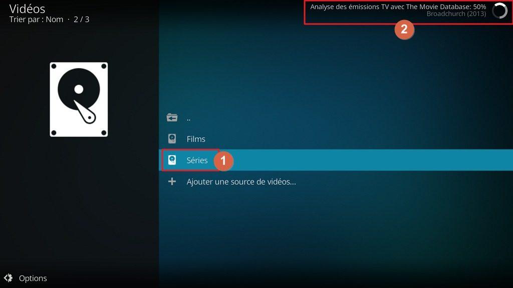"""Capture d'écran de l'application Kodi, """"Analyse des émissions TV"""" en cours."""
