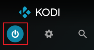 "Capture d'écran de l'application Kodi, bouton ""Options d'alimentation""."