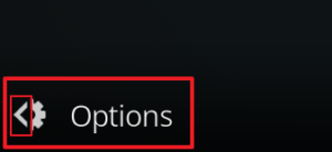 "Capture d'écran de l'application Kodi, bouton ""Options""."