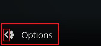 """Capture d'écran de l'application Kodi, bouton """"Options""""."""