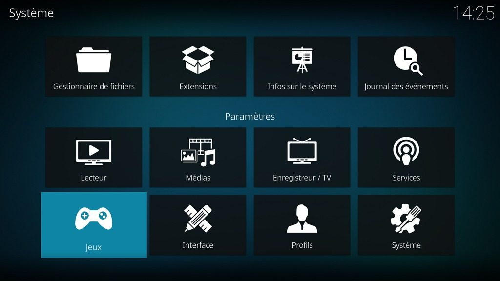 """Capture d'écran de l'application Kodi, élément """"Jeux"""" de l'écran """"Système""""."""