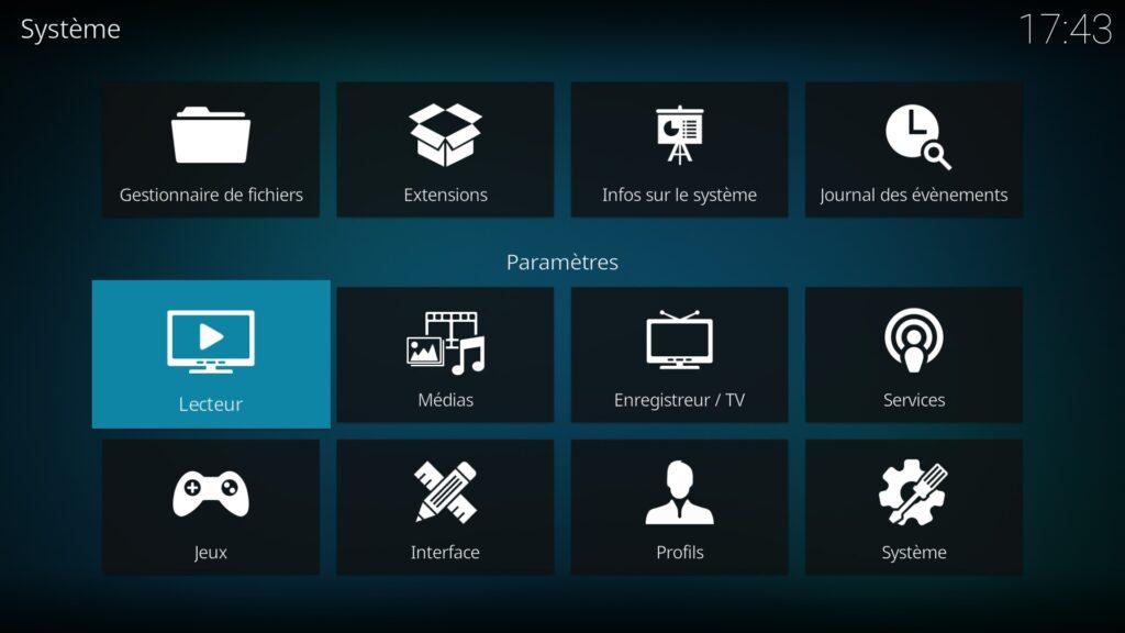 """Capture d'écran de l'application Kodi, écran """"Système"""" avec élément """"Lecteur"""" en surbrillance."""