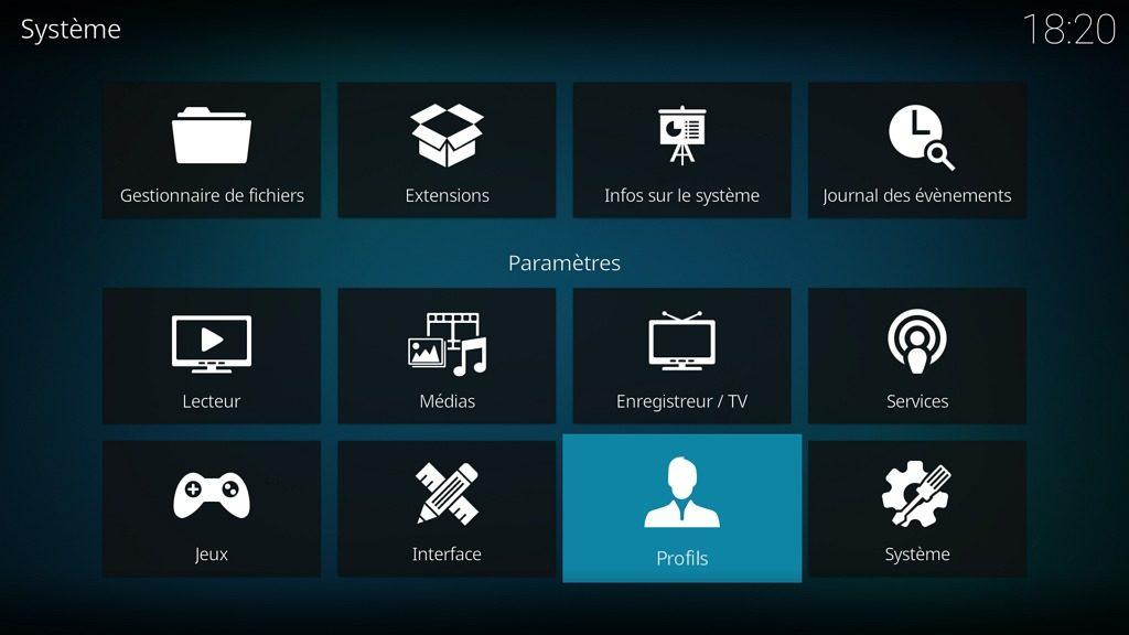 """Capture d'écran de l'application Kodi, élément """"Profils"""" de la page """"Système""""."""
