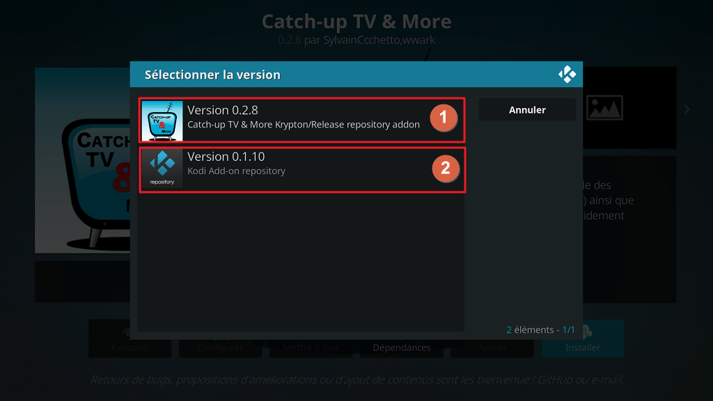 "Capture d'écran de l'application Kodi, écran ""sélectionner la version""  suite à tentative d'installation de l'extension ""Catch-up TV & More""."