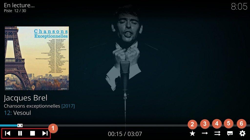 Capture d'écran de l'application Kodi, contrôles du lecteur de musique.